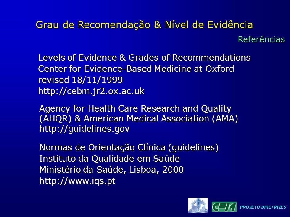 Grau de Recomendação & Nível de Evidência Estudos Terapêuticos e Preventivos 01 Revisão Sistemática de Ensaio Controlado e Aleatorizado 02 Ensaio Controlado e Aleatorizado de IC* pequeno