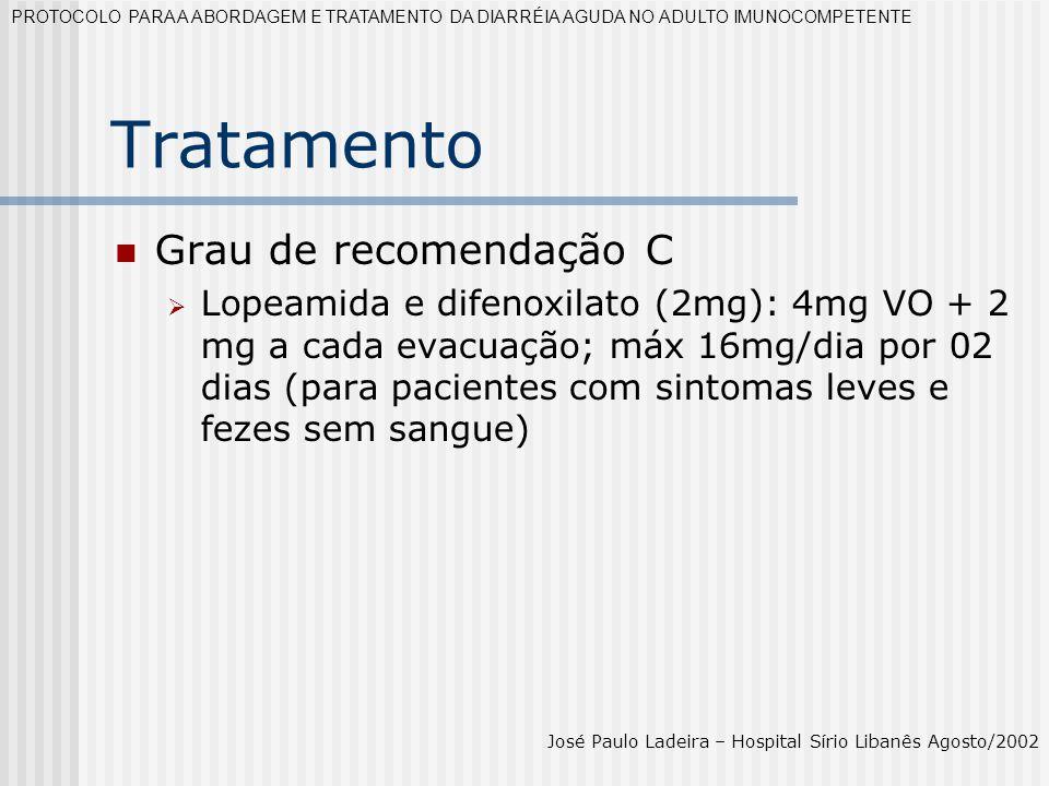 Tratamento Grau de recomendação C Lopeamida e difenoxilato (2mg): 4mg VO + 2 mg a cada evacuação; máx 16mg/dia por 02 dias (para pacientes com sintoma