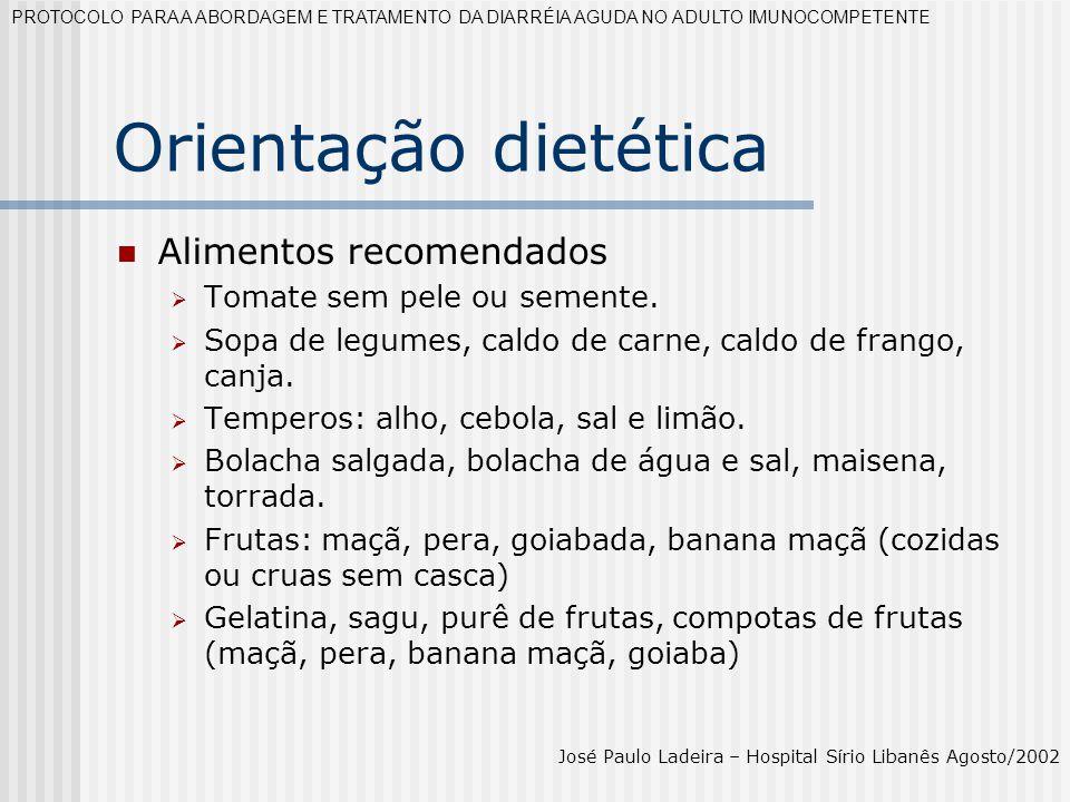 Orientação dietética Alimentos recomendados Tomate sem pele ou semente. Sopa de legumes, caldo de carne, caldo de frango, canja. Temperos: alho, cebol