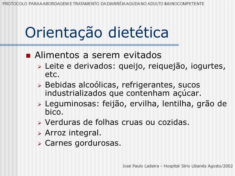 Orientação dietética Alimentos a serem evitados Leite e derivados: queijo, reiquejão, iogurtes, etc. Bebidas alcoólicas, refrigerantes, sucos industri