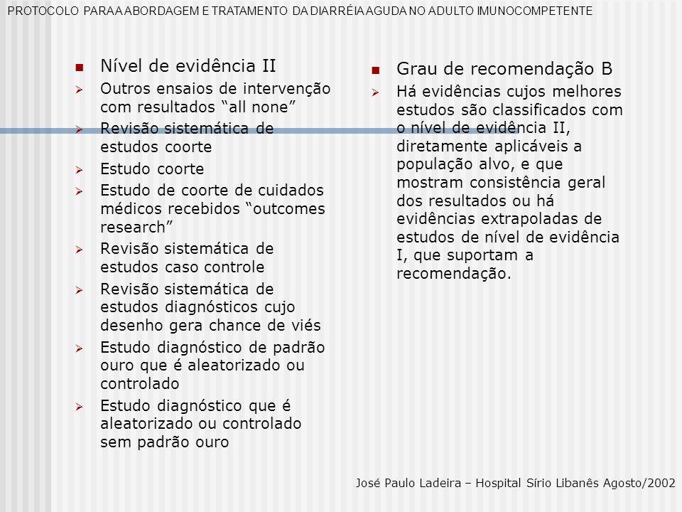 Nível de evidência II Outros ensaios de intervenção com resultados all none Revisão sistemática de estudos coorte Estudo coorte Estudo de coorte de cu