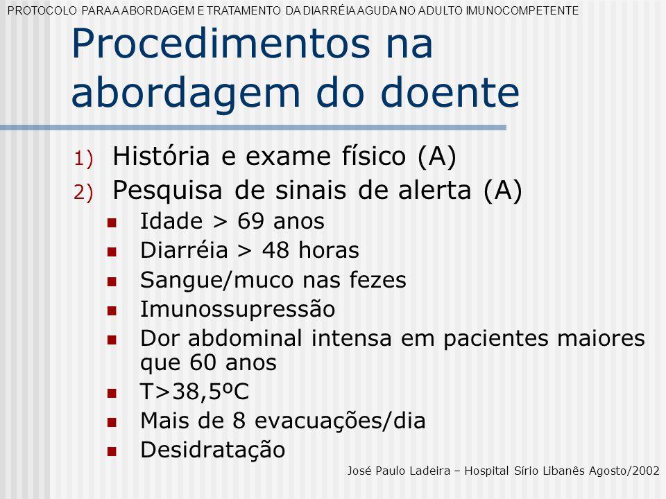 Procedimentos na abordagem do doente 1) História e exame físico (A) 2) Pesquisa de sinais de alerta (A) Idade > 69 anos Diarréia > 48 horas Sangue/muc