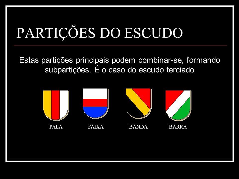 PARTIÇÕES DO ESCUDO PALA FAIXA BANDABARRA Estas partições principais podem combinar-se, formando subpartições. É o caso do escudo terciado