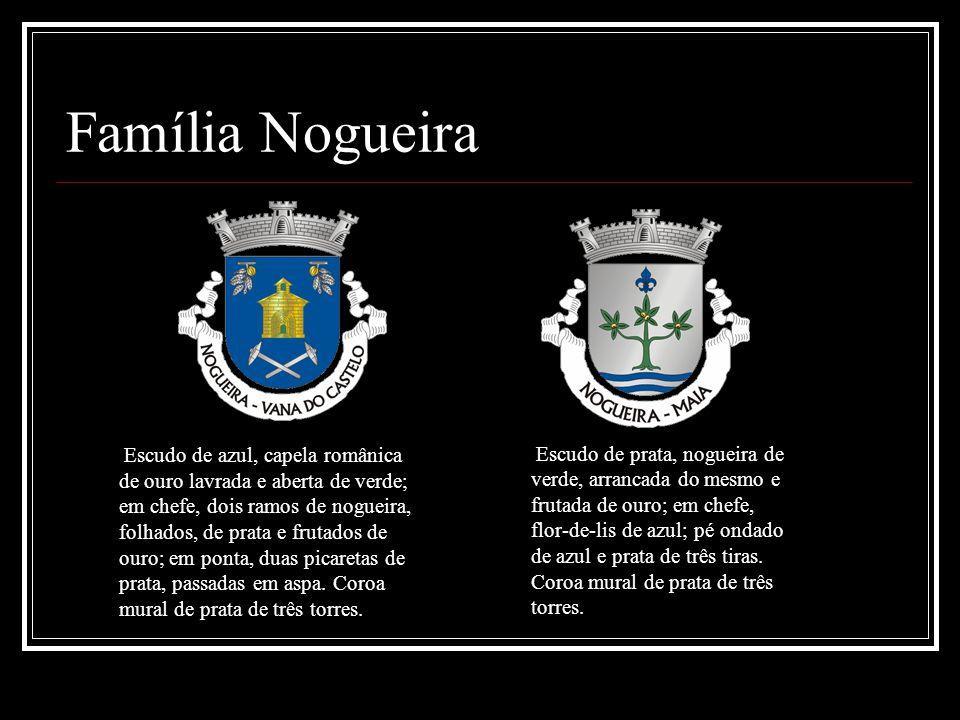 Família Nogueira Escudo de azul, capela românica de ouro lavrada e aberta de verde; em chefe, dois ramos de nogueira, folhados, de prata e frutados de