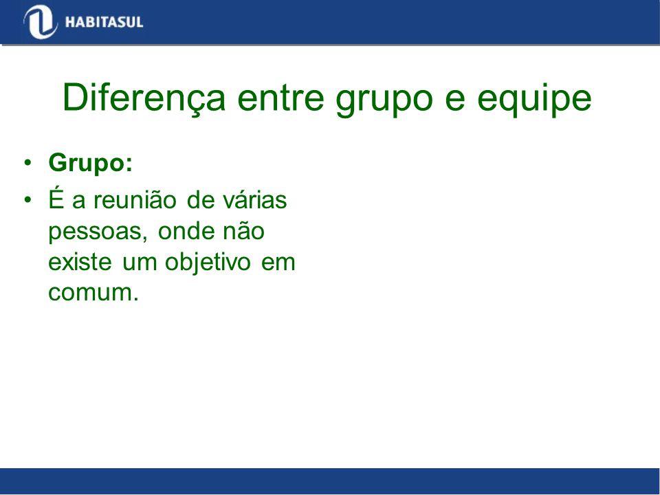 Diferença entre grupo e equipe Grupo: É a reunião de várias pessoas, onde não existe um objetivo em comum.