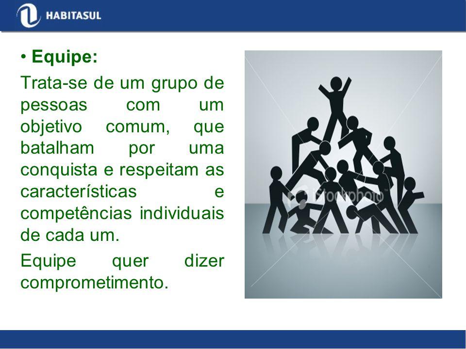 Equipe: Trata-se de um grupo de pessoas com um objetivo comum, que batalham por uma conquista e respeitam as características e competências individuai