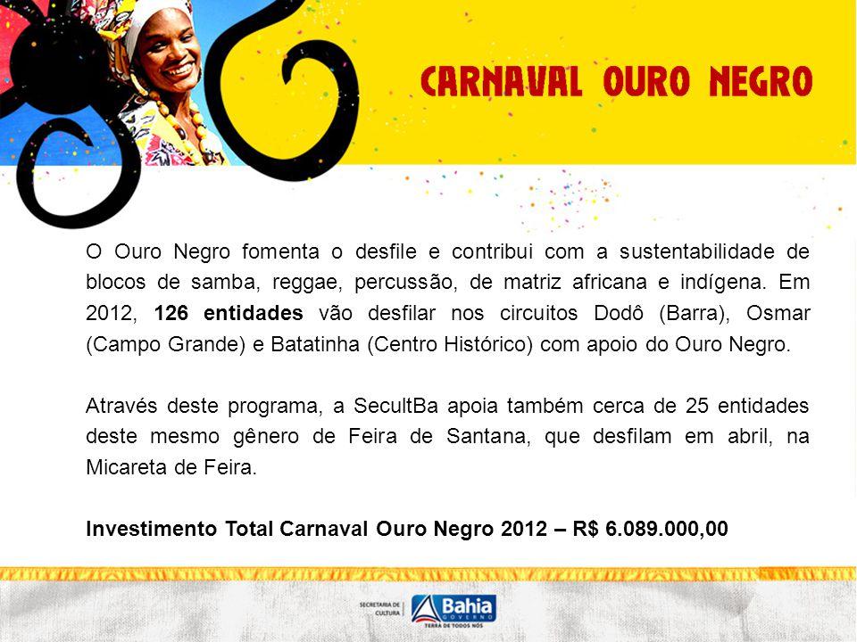 O Ouro Negro fomenta o desfile e contribui com a sustentabilidade de blocos de samba, reggae, percussão, de matriz africana e indígena. Em 2012, 126 e