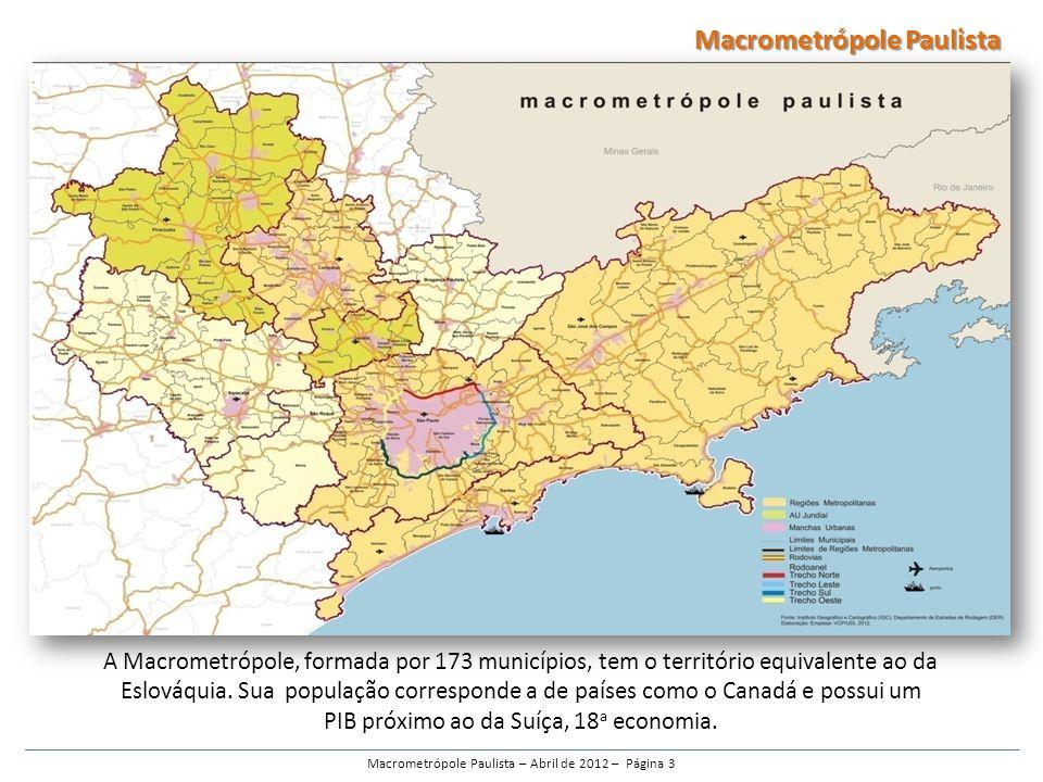 A Macrometrópole, formada por 173 municípios, tem o território equivalente ao da Eslováquia.
