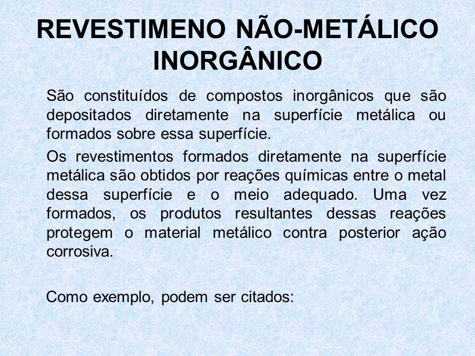 REVESTIMENO NÃO-METÁLICO INORGÂNICO São constituídos de compostos inorgânicos que são depositados diretamente na superfície metálica ou formados sobre