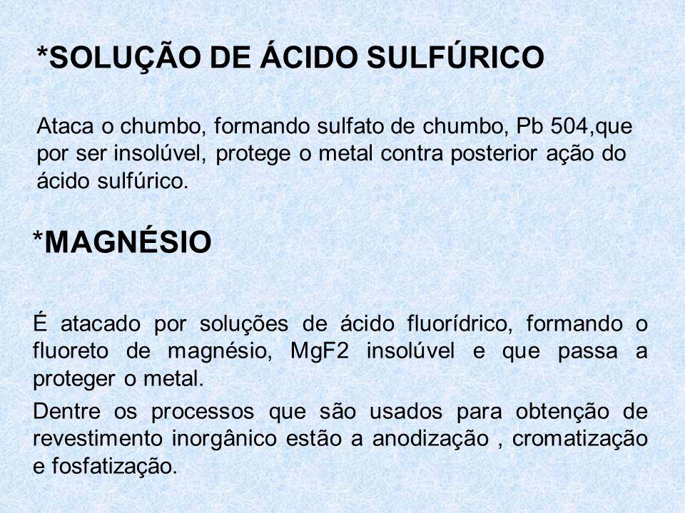 *SOLUÇÃO DE ÁCIDO SULFÚRICO Ataca o chumbo, formando sulfato de chumbo, Pb 504,que por ser insolúvel, protege o metal contra posterior ação do ácido s