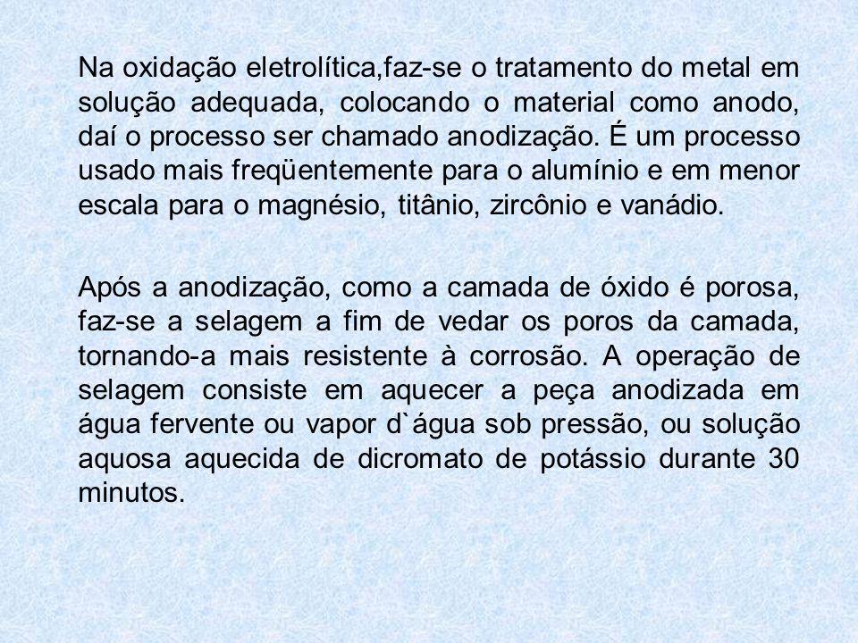 Na oxidação eletrolítica,faz-se o tratamento do metal em solução adequada, colocando o material como anodo, daí o processo ser chamado anodização. É u