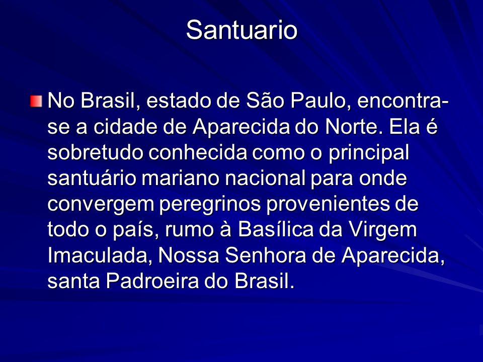 Santuario No Brasil, estado de São Paulo, encontra- se a cidade de Aparecida do Norte.