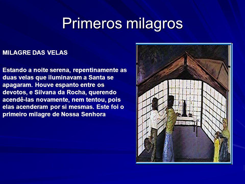 Milagro CAEM AS CORRENTES Em meados de 1850, um escravo chamado Zacarias, preso por grossas correntes, ao passar pelo Santuário, pede ao feitor permissão para rezar à Nossa Senhora Aparecida.