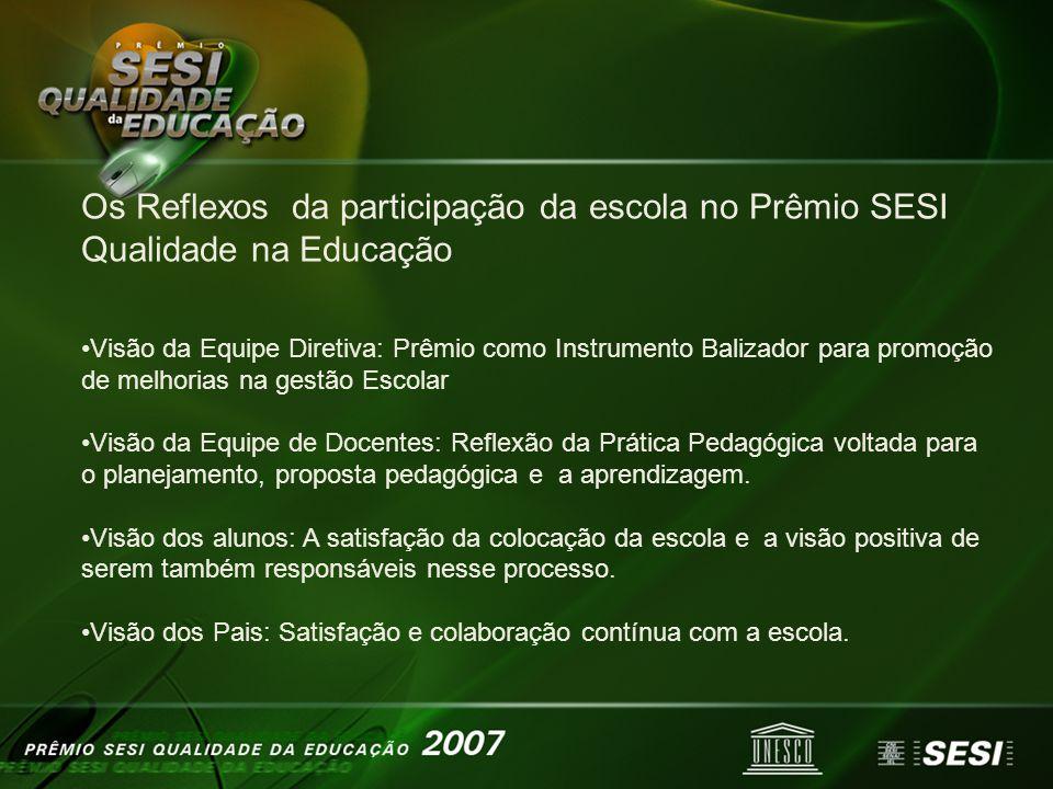 Os Reflexos da participação da escola no Prêmio SESI Qualidade na Educação Visão da Equipe Diretiva: Prêmio como Instrumento Balizador para promoção d