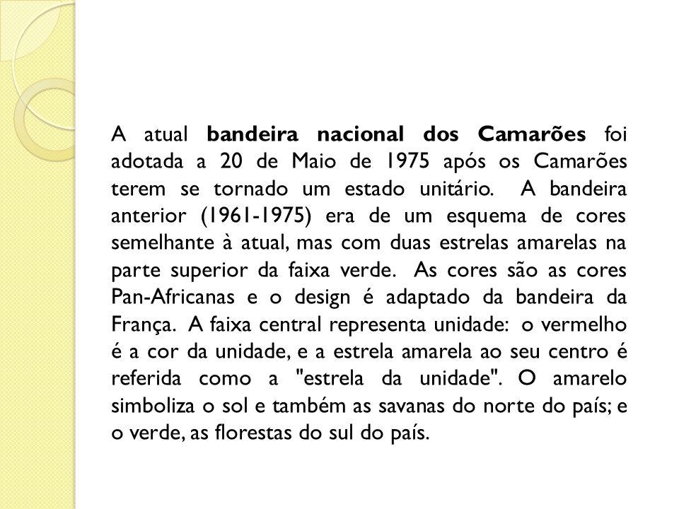 BRASÃO O brasão de Camarões é cortinado de verde, ouro e gules (vermelho).