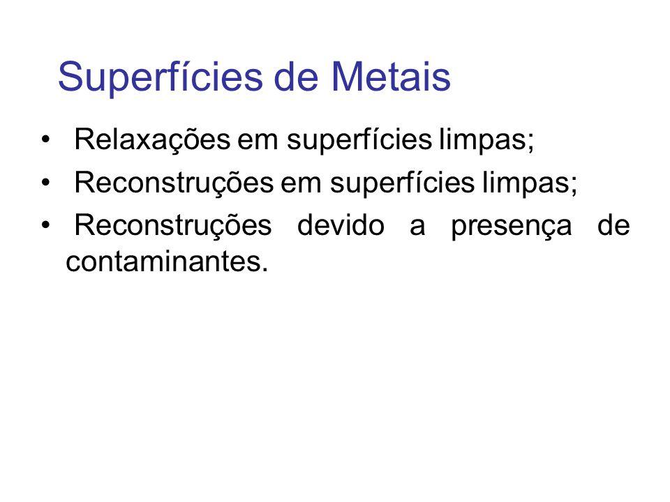 Superfícies de Metais Relaxações em superfícies limpas; Reconstruções em superfícies limpas; Reconstruções devido a presença de contaminantes.