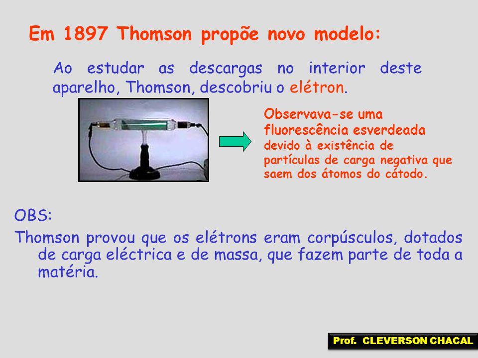Em 1897 Thomson propõe novo modelo: Ao estudar as descargas no interior deste aparelho, Thomson, descobriu o elétron. OBS: Thomson provou que os elétr