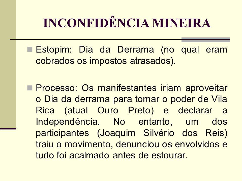 INCONFIDÊNCIA MINEIRA Estopim: Dia da Derrama (no qual eram cobrados os impostos atrasados). Processo: Os manifestantes iriam aproveitar o Dia da derr