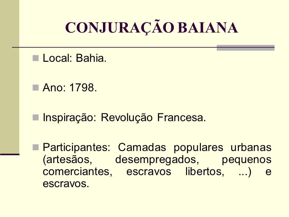 CONJURAÇÃO BAIANA Local: Bahia. Ano: 1798. Inspiração: Revolução Francesa. Participantes: Camadas populares urbanas (artesãos, desempregados, pequenos