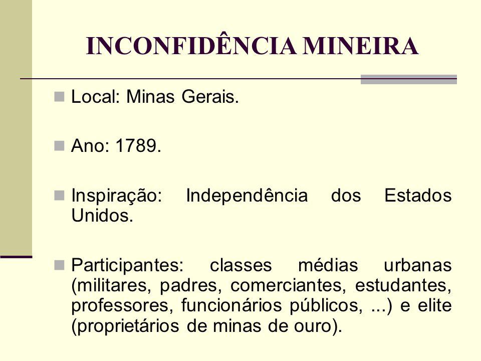 INCONFIDÊNCIA MINEIRA Local: Minas Gerais. Ano: 1789. Inspiração: Independência dos Estados Unidos. Participantes: classes médias urbanas (militares,