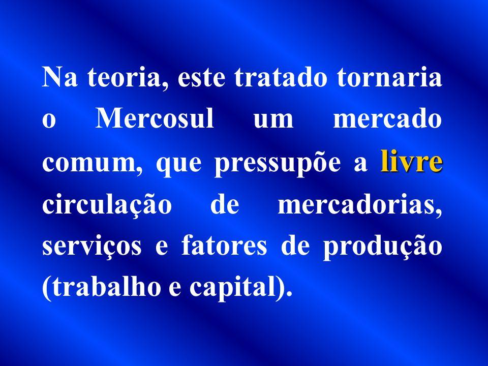 MERCOSUL. Assinado em 26 de março de 1991, pelos presidentes da Argentina, do Brasil, do Paraguai e do Uruguai, com o objetivo de criar um mercado uni
