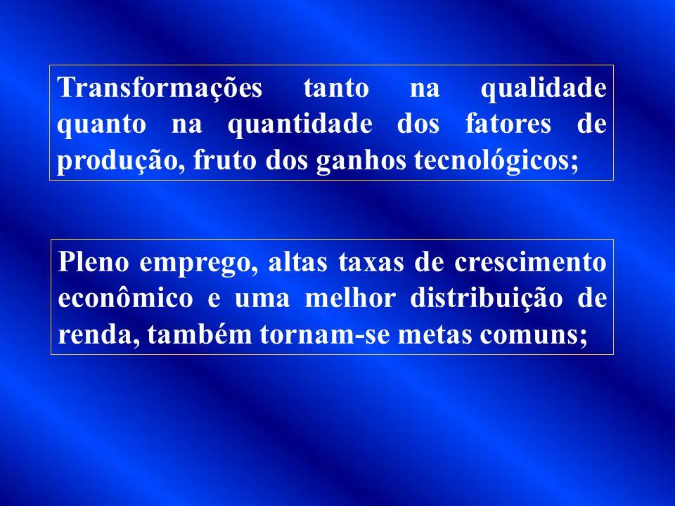Altos níveis de produção, levados pelo maior aproveitamento das economias de escala permitida pela ampliação do mercado; Mobilidade dos fatores de pro