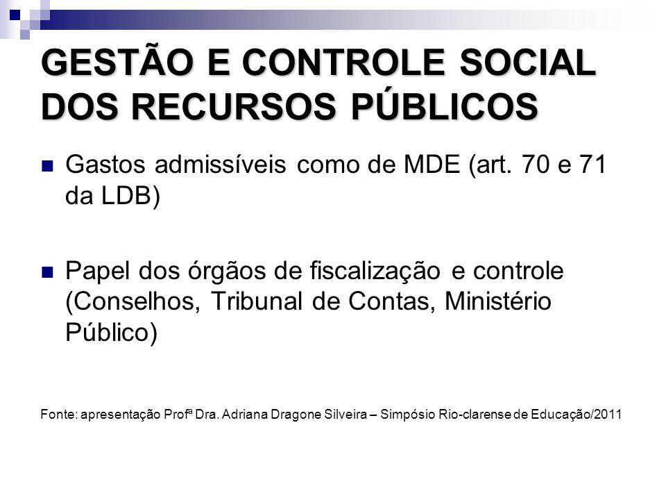 GESTÃO E CONTROLE SOCIAL DOS RECURSOS PÚBLICOS Gastos admissíveis como de MDE (art. 70 e 71 da LDB) Papel dos órgãos de fiscalização e controle (Conse
