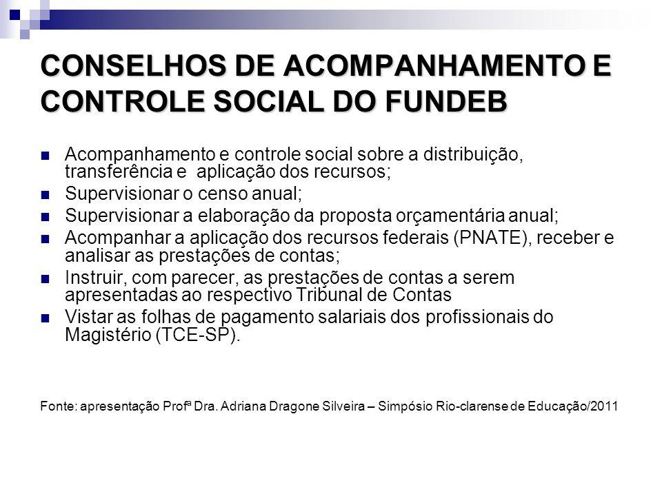 CONSELHOS DE ACOMPANHAMENTO E CONTROLE SOCIAL DO FUNDEB Acompanhamento e controle social sobre a distribuição, transferência e aplicação dos recursos;