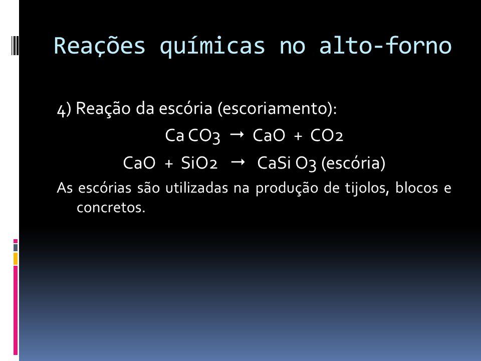 Reações químicas no alto-forno 4) Reação da escória (escoriamento): Ca CO3 CaO + CO2 CaO + SiO2 CaSi O3 (escória) As escórias são utilizadas na produç