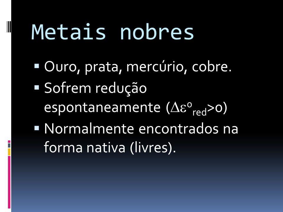Metais nobres Ouro, prata, mercúrio, cobre. Sofrem redução espontaneamente ( 0 red >0) Normalmente encontrados na forma nativa (livres).