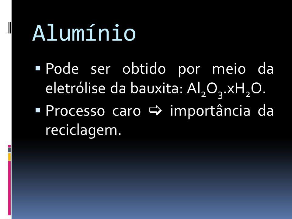 Alumínio Pode ser obtido por meio da eletrólise da bauxita: Al 2 O 3.xH 2 O. Processo caro importância da reciclagem.