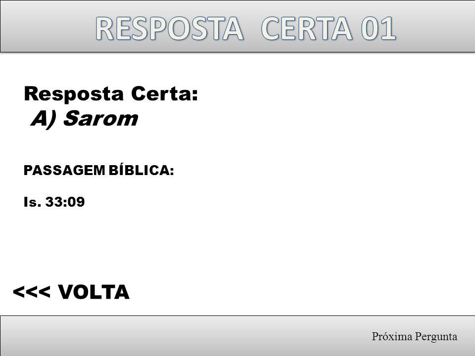 Próxima Pergunta Resposta Certa: A) Sarom PASSAGEM BÍBLICA: Is. 33:09 <<< VOLTA