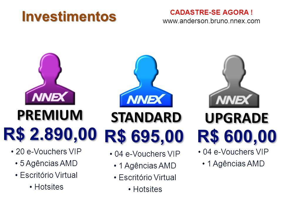Investimentos 04 e-Vouchers VIP 1 Agências AMD Escritório Virtual Hotsites R$ 695,00 STANDARD PREMIUM 20 e-Vouchers VIP 5 Agências AMD Escritório Virt