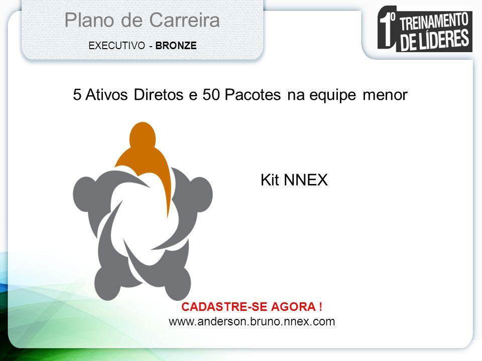 Plano de Carreira EXECUTIVO - BRONZE 5 Ativos Diretos e 50 Pacotes na equipe menor Kit NNEX CADASTRE-SE AGORA ! www.anderson.bruno.nnex.com