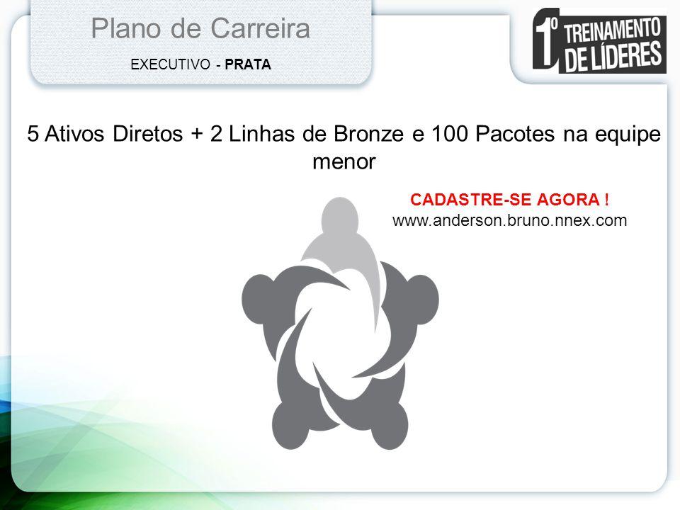 Plano de Carreira EXECUTIVO - PRATA 5 Ativos Diretos + 2 Linhas de Bronze e 100 Pacotes na equipe menor CADASTRE-SE AGORA ! www.anderson.bruno.nnex.co