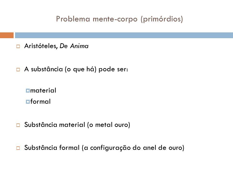 Problema mente-corpo (primórdios) Aristóteles, De Anima A substância (o que há) pode ser: material formal Substância material (o metal ouro) Substânci