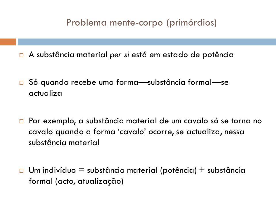 Problema mente-corpo (primórdios) A substância material per si está em estado de potência Só quando recebe uma formasubstância formalse actualiza Por