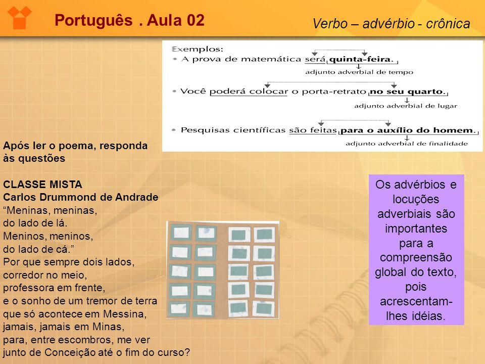 Português. Aula 02 Verbo – advérbio - crônica Os advérbios e locuções adverbiais são importantes para a compreensão global do texto, pois acrescentam-
