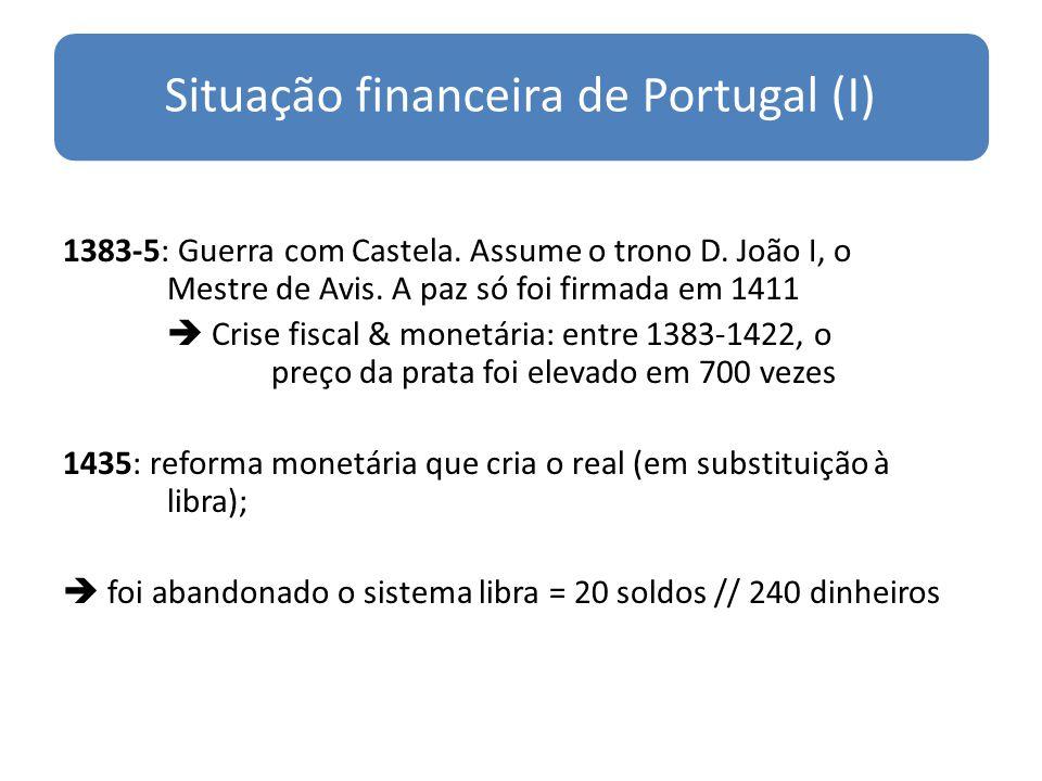 Situação financeira de Portugal (I) 1383-5: Guerra com Castela. Assume o trono D. João I, o Mestre de Avis. A paz só foi firmada em 1411 Crise fiscal