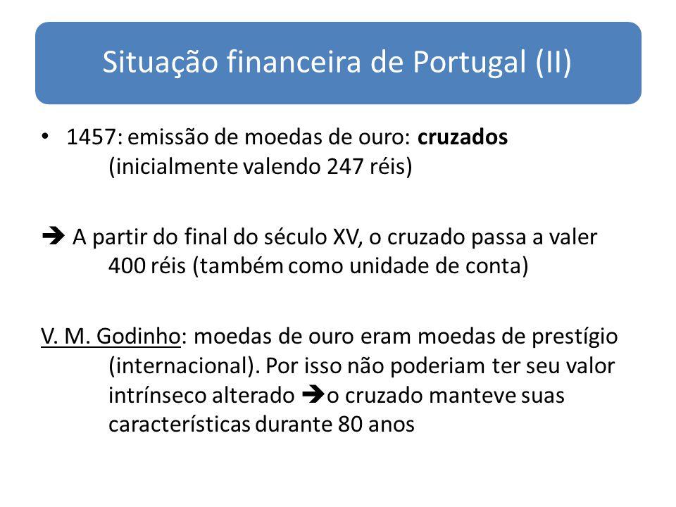 Situação financeira de Portugal (II) 1457: emissão de moedas de ouro: cruzados (inicialmente valendo 247 réis) A partir do final do século XV, o cruza