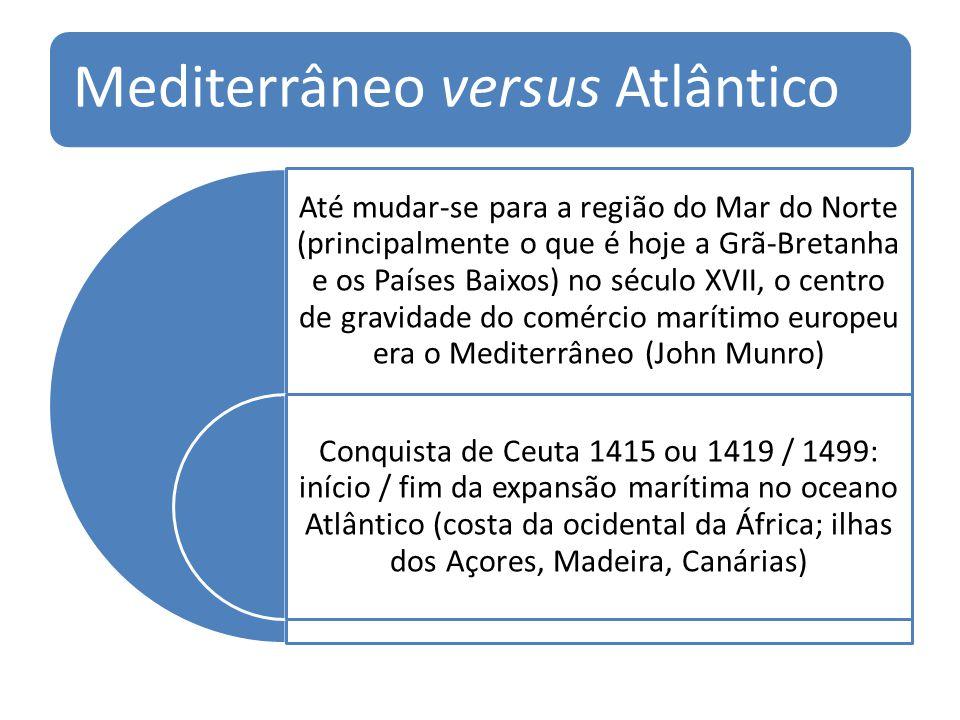 Mediterrâneo versus Atlântico Até mudar-se para a região do Mar do Norte (principalmente o que é hoje a Grã-Bretanha e os Países Baixos) no século XVI