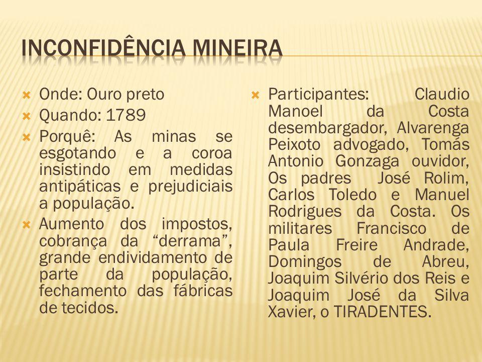 Onde: Ouro preto Quando: 1789 Porquê: As minas se esgotando e a coroa insistindo em medidas antipáticas e prejudiciais a população. Aumento dos impost