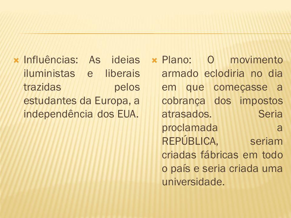 Influências: As ideias iluministas e liberais trazidas pelos estudantes da Europa, a independência dos EUA. Plano: O movimento armado eclodiria no dia
