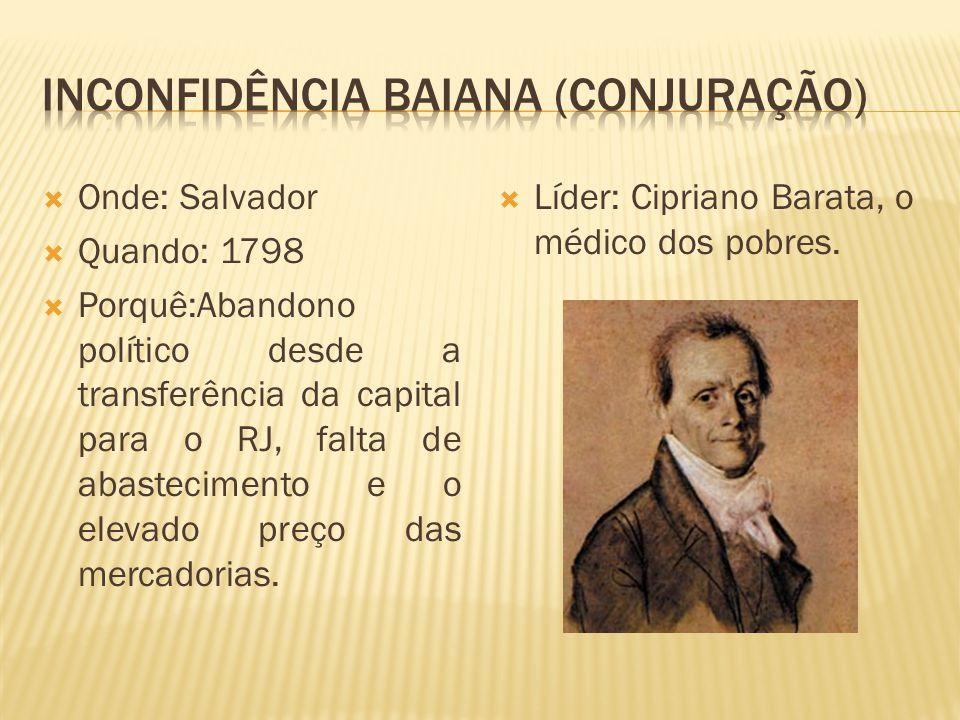 Onde: Salvador Quando: 1798 Porquê:Abandono político desde a transferência da capital para o RJ, falta de abastecimento e o elevado preço das mercador