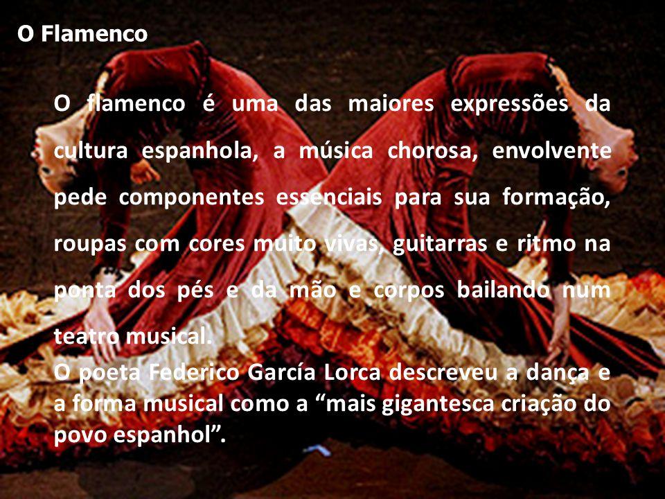 O flamenco é uma das maiores expressões da cultura espanhola, a música chorosa, envolvente pede componentes essenciais para sua formação, roupas com cores muito vivas, guitarras e ritmo na ponta dos pés e da mão e corpos bailando num teatro musical.