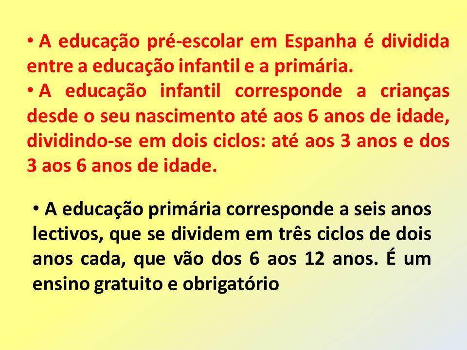 A educação pré-escolar em Espanha é dividida entre a educação infantil e a primária. A educação infantil corresponde a crianças desde o seu nascimento