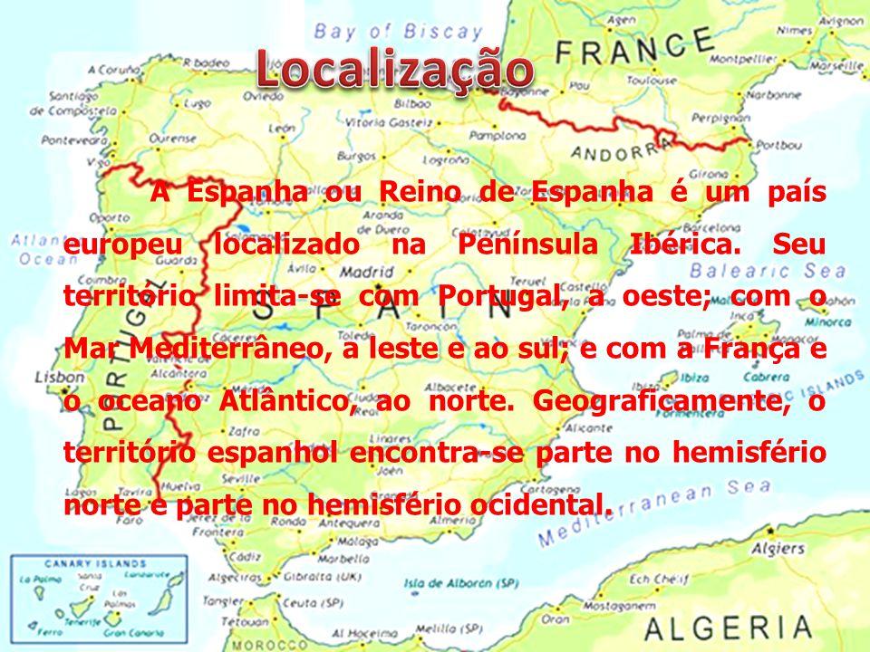 A Espanha ou Reino de Espanha é um país europeu localizado na Península Ibérica. Seu território limita-se com Portugal, a oeste; com o Mar Mediterrâne