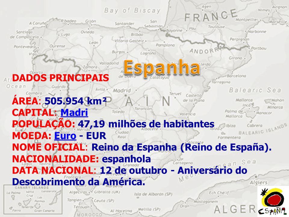 DADOS PRINCIPAIS ÁREA: 505.954 km² CAPITAL: Madri POPULAÇÃO: 47,19 milhões de habitantes MOEDA: Euro - EUR NOME OFICIAL: Reino da Espanha (Reino de España).