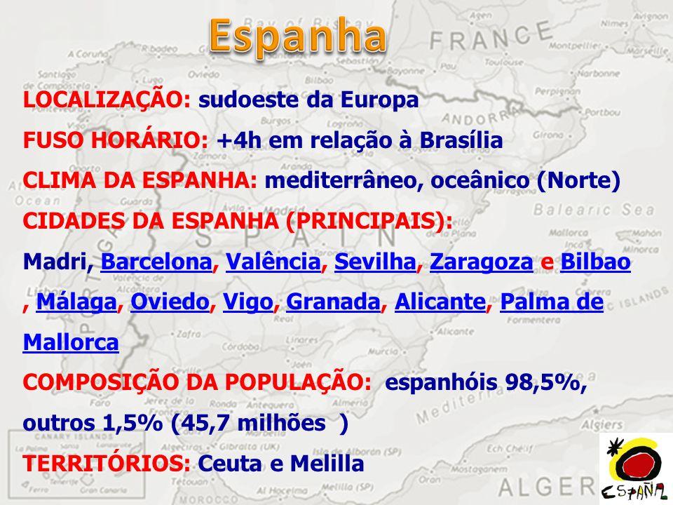 LOCALIZAÇÃO: sudoeste da Europa FUSO HORÁRIO: +4h em relação à Brasília CLIMA DA ESPANHA: mediterrâneo, oceânico (Norte) CIDADES DA ESPANHA (PRINCIPAIS): Madri, Barcelona, Valência, Sevilha, Zaragoza e Bilbao, Málaga, Oviedo, Vigo, Granada, Alicante, Palma de Mallorca COMPOSIÇÃO DA POPULAÇÃO: espanhóis 98,5%, outros 1,5% (45,7 milhões ) TERRITÓRIOS: Ceuta e Melilla BarcelonaValênciaSevilhaZaragozaBilbaoMálagaOviedoVigoGranadaAlicantePalma de Mallorca