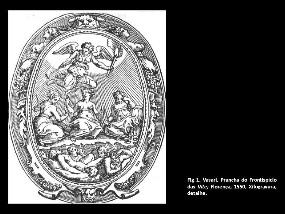 Fig 1. Vasari, Prancha do Frontispício das Vite, Florença, 1550, Xilogravura, detalhe.